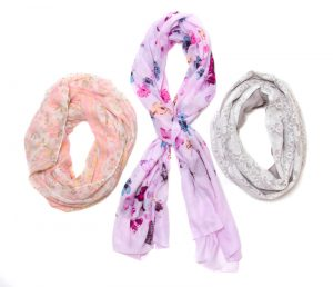 Floral and Two-toned Polyester Blend Scarves