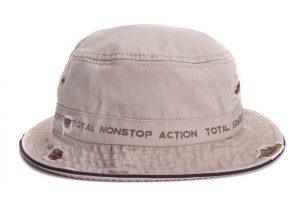 Bucket Hat with Heavy Wash, Grommets, Blowout and Distressing