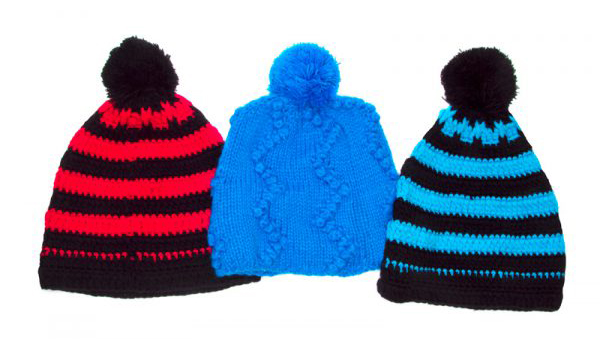 Knit Beanies with Poms