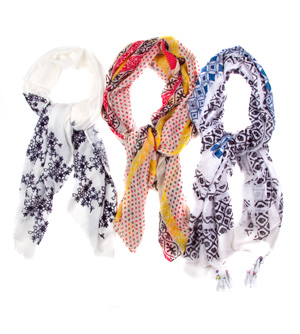 Printed Acrylic Scarves with Fringe