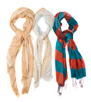 Printed Scarves with Fringe